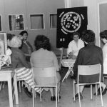 Black and white photo of antenatal classes at Oxlow Lane Clinic (c.1957)