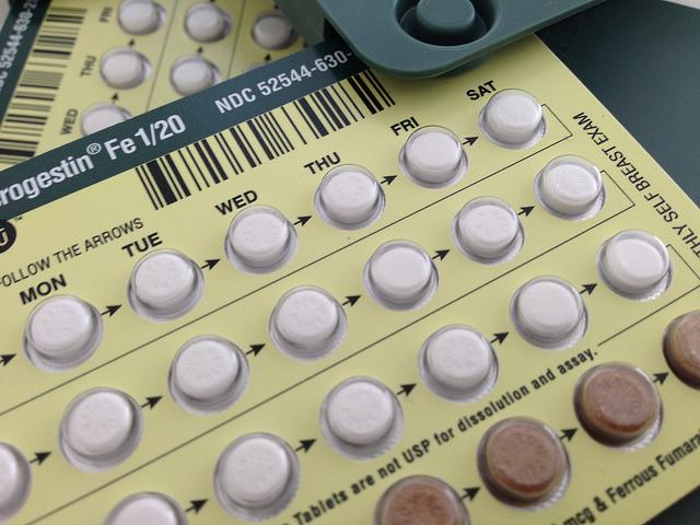 Colour photograph of birth control pills