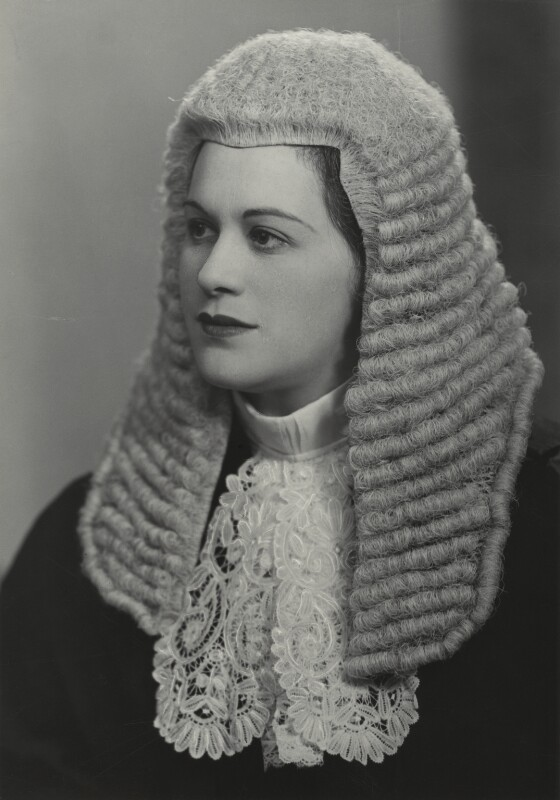 Black and white photo of Dame Rose Heilbron as King's Counsel