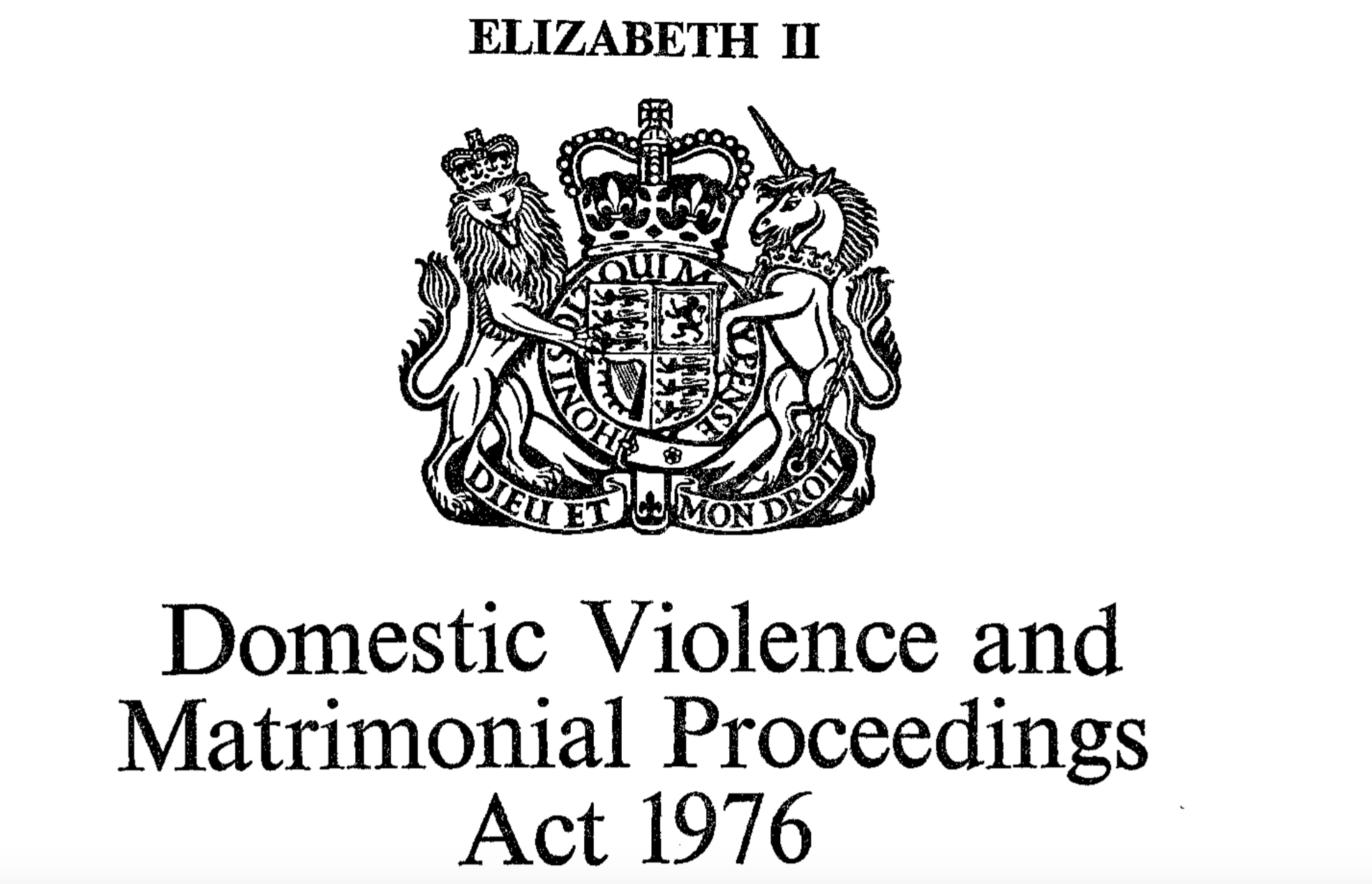Image of the Domestic Violence and Matrimonial Proceedings Act 1976 with the Royal Coat of Arms