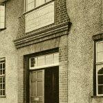 Black and white photo of the entrance of Dagenham Child Welfare Clinic (c.1938)