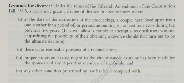 Black and white scan of information on the divorce referendum