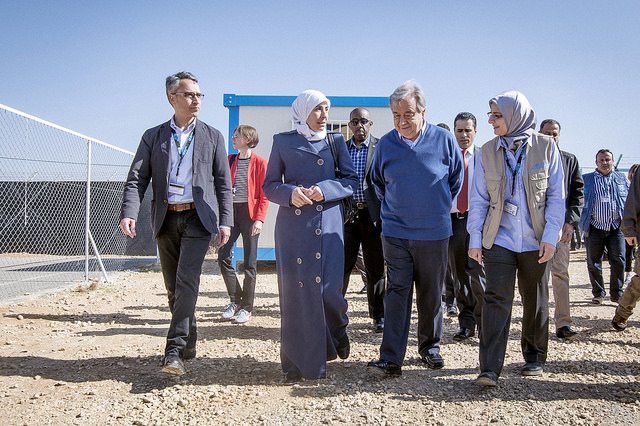 Colour photo of tour of refugee camp in Jordan with the UN Secretary General