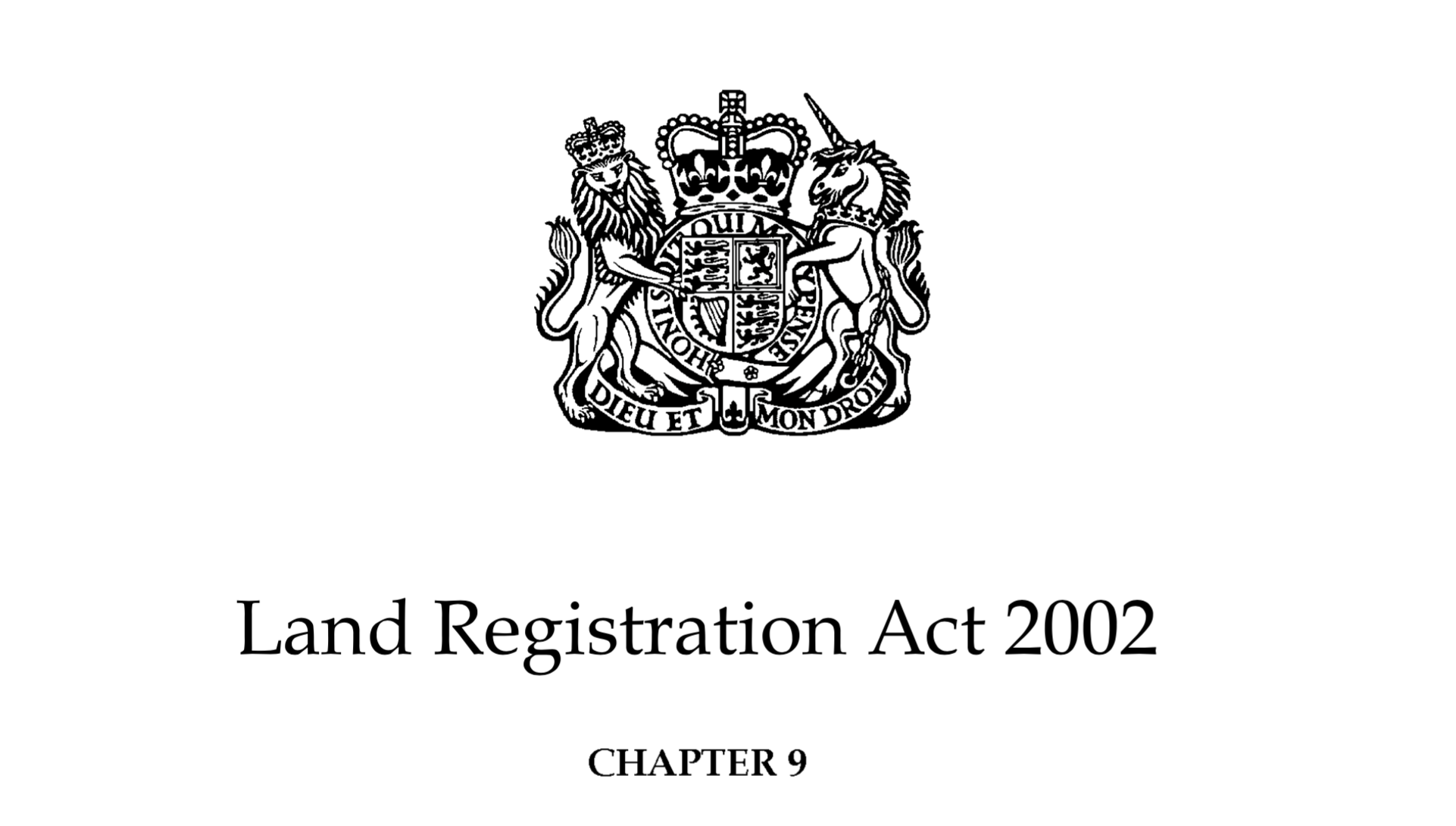 Image of the Land Registration Act 2002 with the Royal Coat of Arms