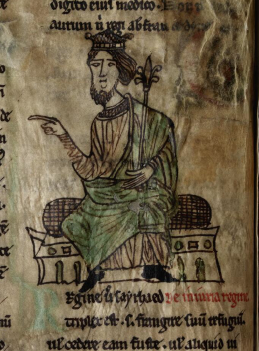 Digitised Latin book of the Laws of Hywell Dda with an image of a king figure on the page