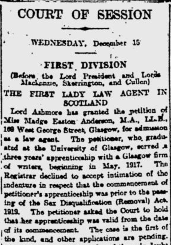 News-clipping of Madge Easton Anderson from the Glasgow Herald December 16, 1920