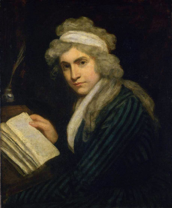 Colour painting of Mary Wollstonecraft holding a book