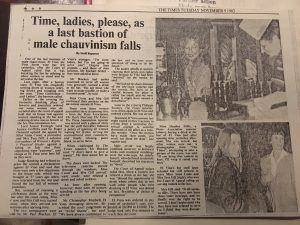 Newspaper clipping with the heading 'Time, ladies, please, as a last bastion of male chauvinism falls'