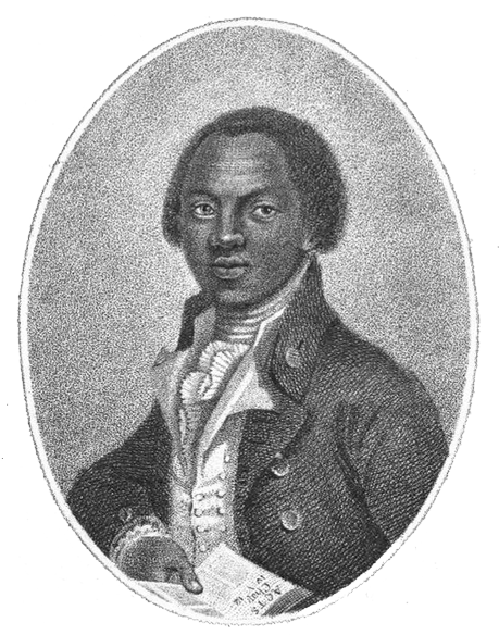Black and white engraving of abolitionist Olaudah Equiano