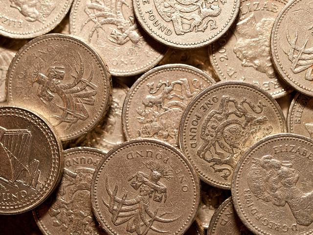 Colour photo of pound coins