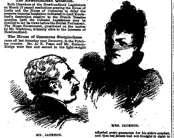 Black and white article with sketches of Mr and Mrs Jackson