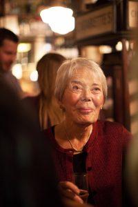 Colour photograph of Tess Gill at El Vino's