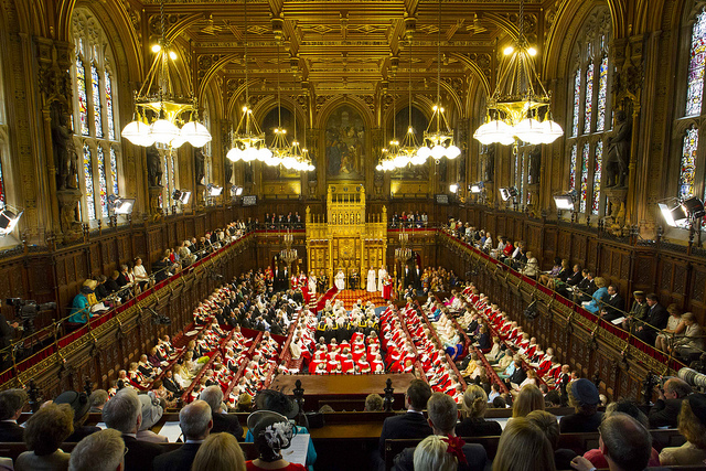Colour photo of the House of Lords during the Queen's speech
