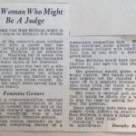 Photo of news clipping about Rose Heilbron mannerisms as a lawyer