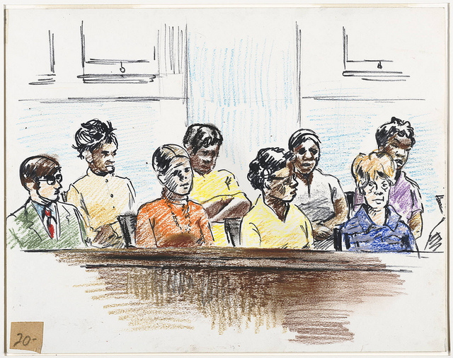 Colour drawing of a majority female jury